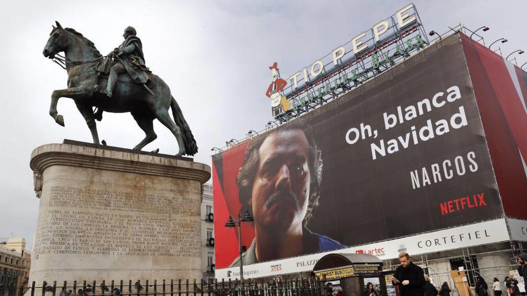 La publicidad exterior de Laporta en Madrid: ¿provocación o genialidad?  - Lona  de Netflix en Madrid
